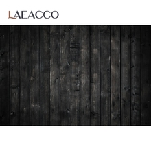 Laeacco Black Plank Wood Board Texture Food Party Doll Baby Portriat For Professional Photo Studio Photo Background Photocall