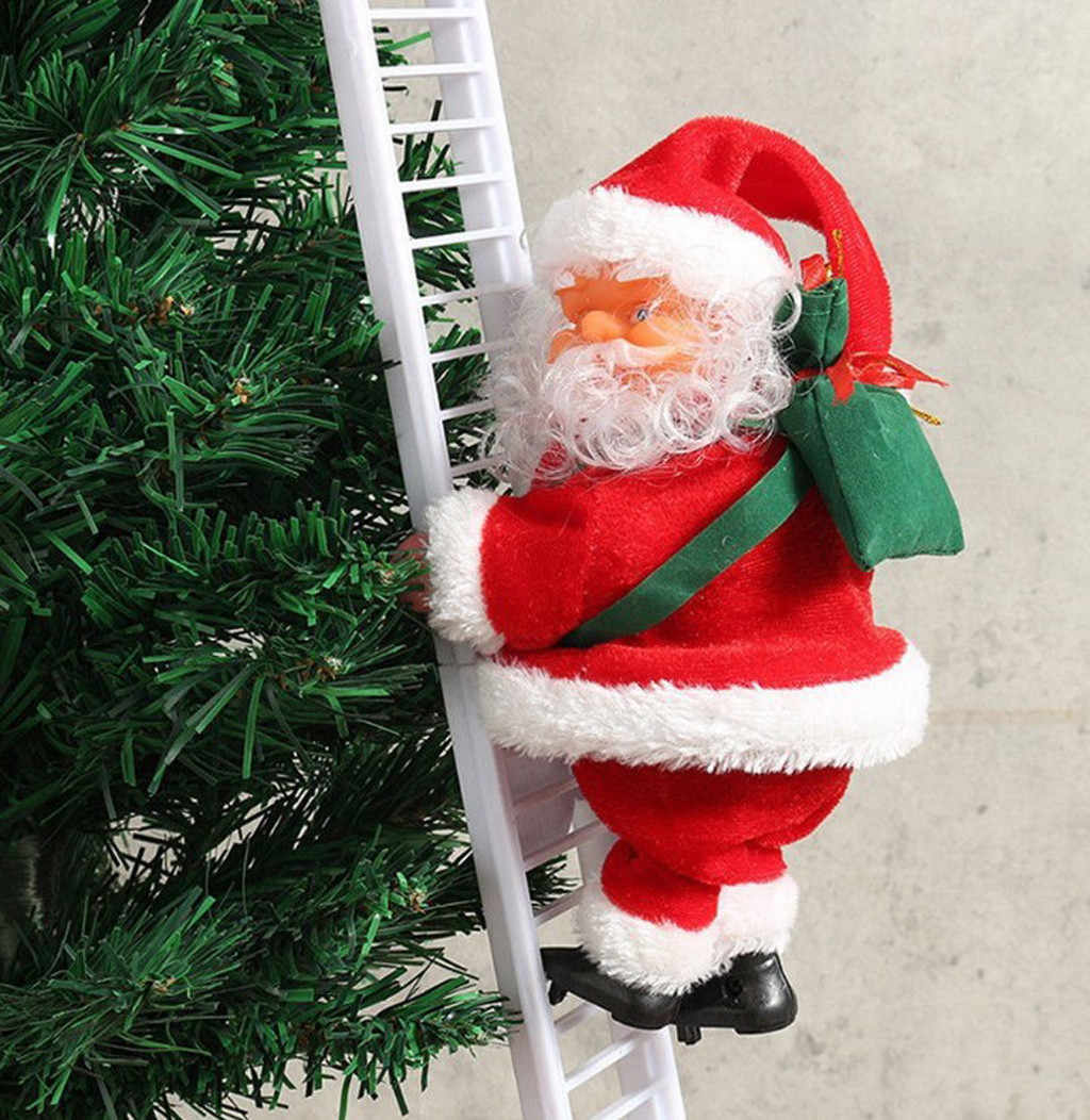 الكهربائية تسلق سلم سانتا كلوز عيد الميلاد تمثال زخرفة الهدايا المنزلية عيد الميلاد جو هدية الديكور орнамена