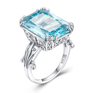 Image 3 - Szjinao Real 925 Sterling Silver Aquamarine Rings For Women Sky Blue Topaz Ring Gemstones Silver 925 Jewellery Christmas Gift