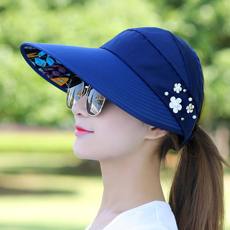Sun Hats For Women Visors  Fishing Fisher Beach  UV Protection Cap Black Casual Womens Summer Caps Ponytail Wide Brim