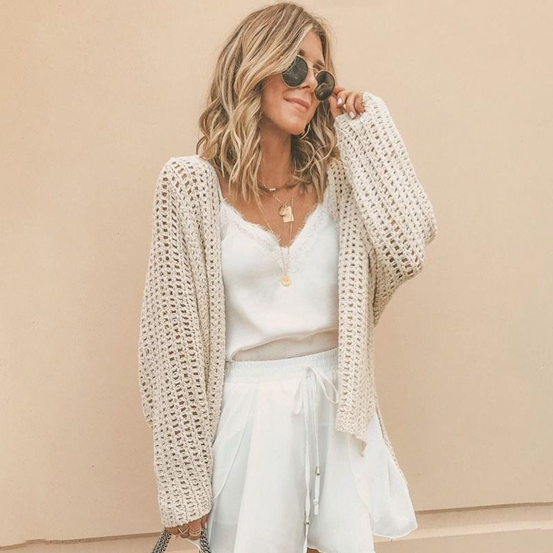 Conmoto Autumn Winter 2019 Hollow Out Cardigan Women Knitted Female Cardigans Solid White Cardigan Stitch Plus Size