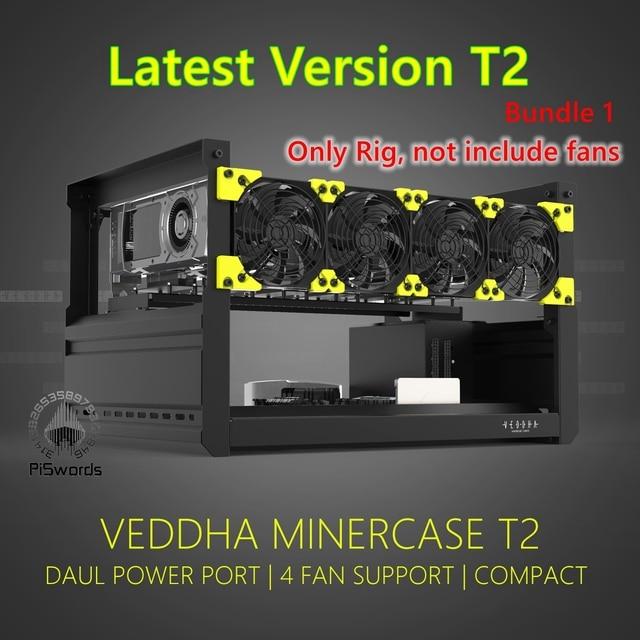 VEDDHA 6 GPU T2 установка для майнинга, алюминиевый чехол с открытым воздухом, компьютер, установка для майнинга ETH, комплект для майнинга Bitcon 1