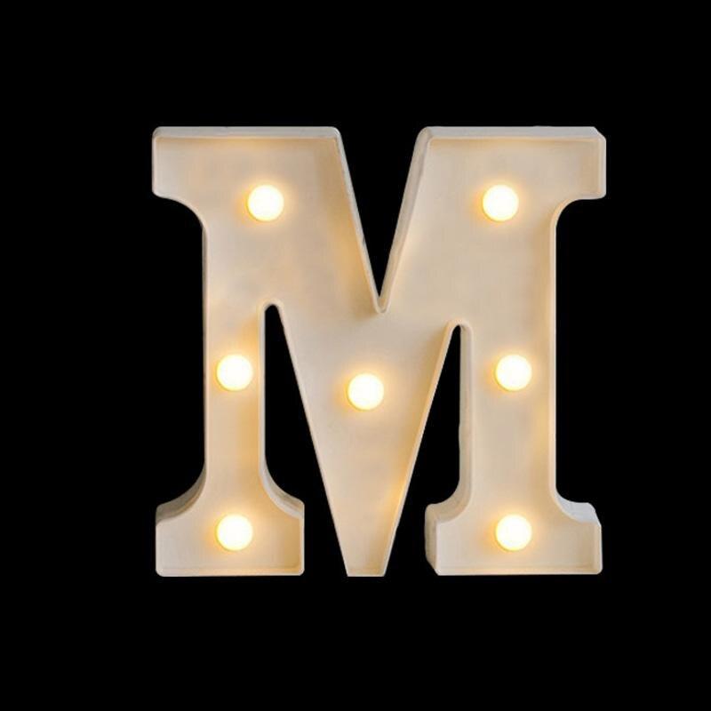 Светящийся светодиодный ночник с буквами 26 дюймов, креативный светильник на батарейках с английским алфавитом, романтическое украшение дл...