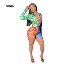 Wholesale Colorful Camouflage Print Skinny Short Jumpsuit