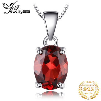 Natural Garnet Pendant Necklace 925 Sterling Silver Gemstones Choker Statement Women silver Jewelry Without Chain