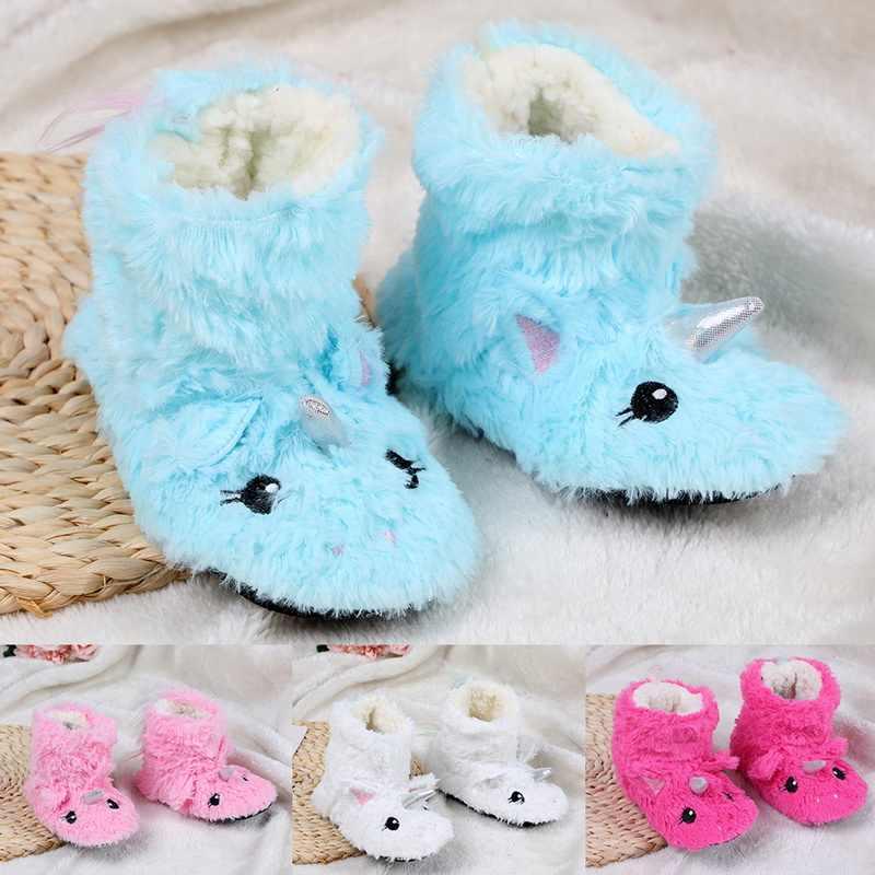 2020 kış bebek yürüyor kat terlik sevimli hayvan yumuşak sıcak peluş astar kaymaz ev ayakkabıları kış botu çorap 2-7Year eski