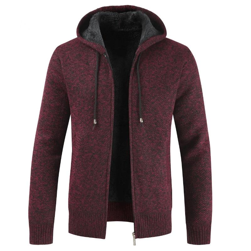 Men's Winter Sweater Coat Thick Warm Hooded Cardigan Jumpers Men Striped Cashmere Wool Liner Zipper Fleece Outwear Coats