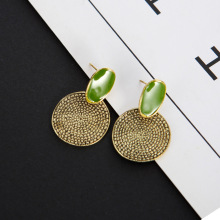 Retro Big Green Drop Oil Round Carved Earrings Europe and The United States Explosion Models Aretes De Mujer Modernos