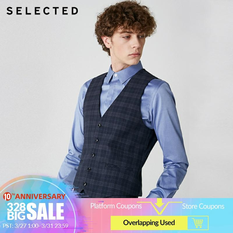 SELECTED Me's Slim Fit Dark Plaid Waistcoat Business Casual Single-breasted Suit Vest  T|419134502