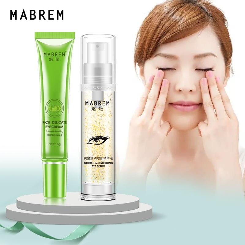 MABREM 24k Golden Moisturizing Eye Serum Day Cream Collagen Anti-Aging Dark Circle Repair Eye Anti Puffiness Remover Fat Granule