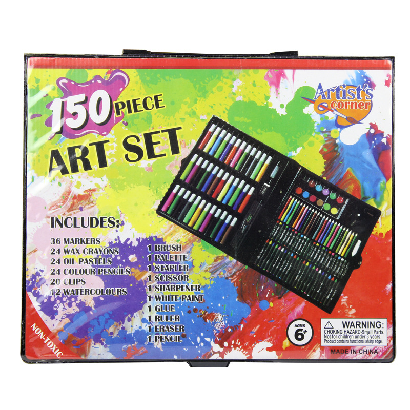 150pcs/set Crayon Water-color Drawing Painting Set Water Color Pen Oil Pastel Paint Brush Drawing Tool Art School Stationery Set