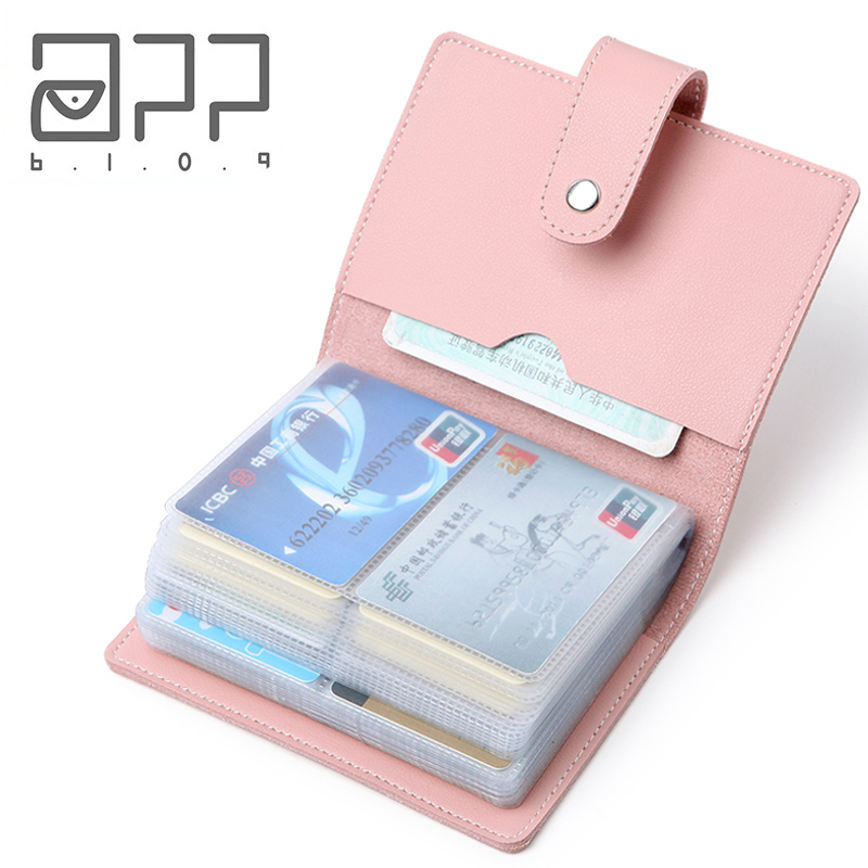 APP BLOG 60 Bits Business Card Holder Banks Women&Men Card Bags Leather ID Credit Cards Case Wallet Femme Female Male Carteira image
