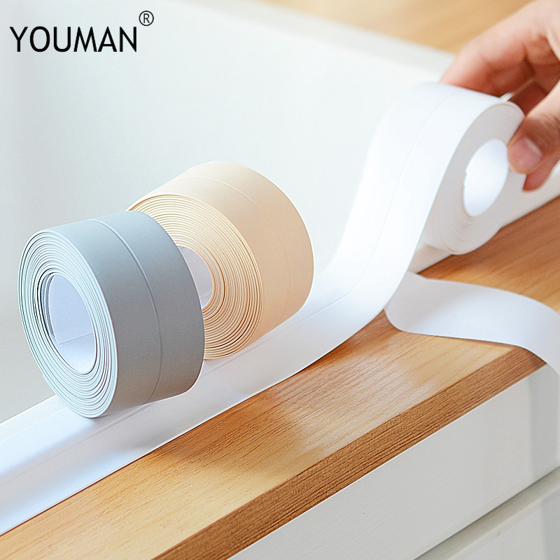 Beige PVC Material Self Adhesive Wallpaper Borders Kitchen Bathroom Wall Sealing Tape Waterproof Mold Proof Adhesive Solid Tapes