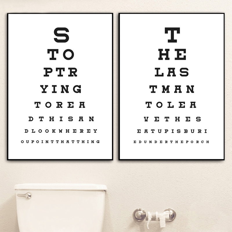Funny Bathroom Sign Typography Posters And Prints Toilet Eye Test Chart Art Canvas Painting Pictures Bathroom Wall Art Decor Painting Calligraphy Aliexpress