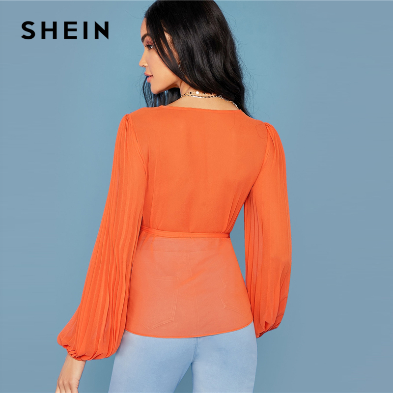 SHEIN Bright Orange Deep V Neck Tie Side Wrap Blouse Women Tops 2019 Autumn Pleated Sleeve Solid Elegant Belted Shirt Blouses 2