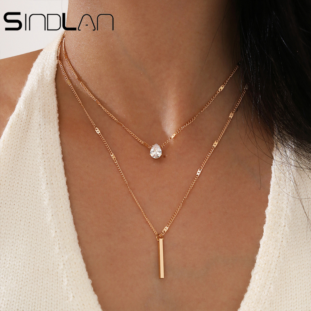 Simple Crystal Geometric Gold Pendant Necklace Set for Women Charms Kpop Fashion Square Rhinestone Female Vintage Jewelry Collar