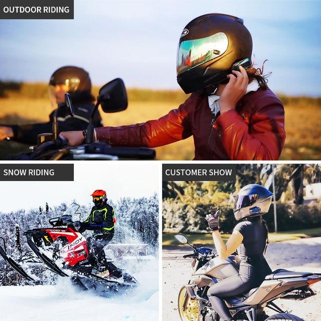 Lexin 1pieza LX- B4FM intercomunicadores de casco moto bluetooth para 4 personas hablando al mismo tiempo con sonido fuerte de calidad alto,Manos libres/ FM Radio/Universal/Compatible con otra marca intercom