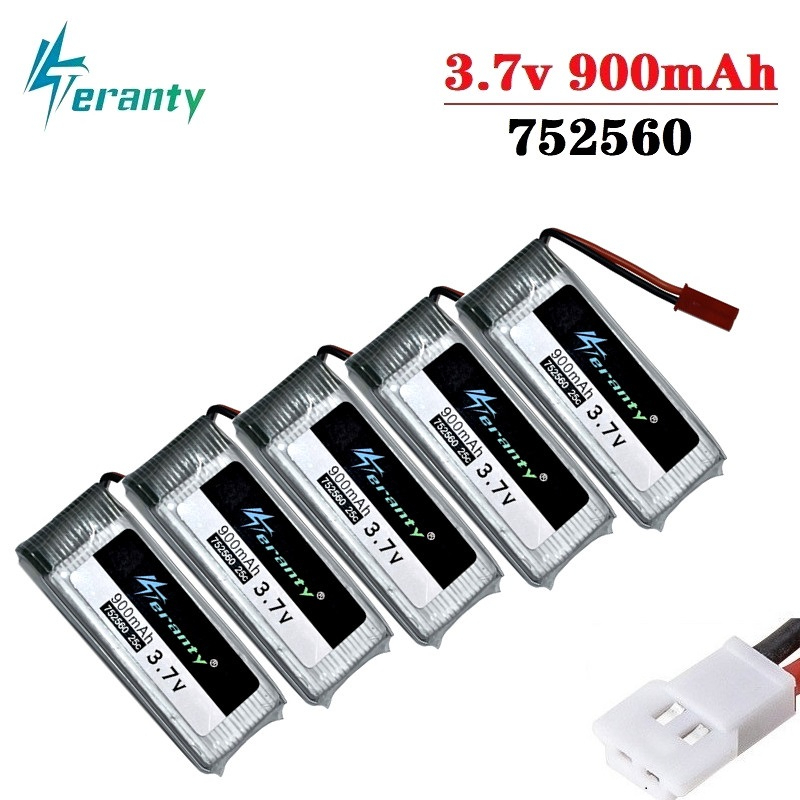 3.7V 900mah lipo Battery For X5 X5C X5SC 8807 8807W A6 A6W M68 Rc Quadcopter Spare Parts Accessories Drones battery <font><b>752560</b></font> 5Pcs image