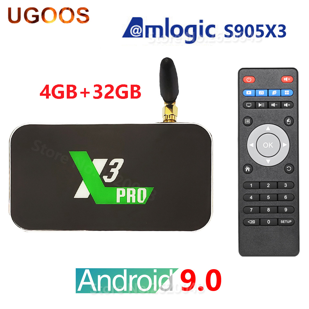UGOOS X3 PRO X3 CUBE Amlogic S905X3 Android 9.0 TV Box 2GB 4GB DDR4 16GB 32GB ROM 2.4G 5G WiFi 1000M Bluetooth 4K Media Player