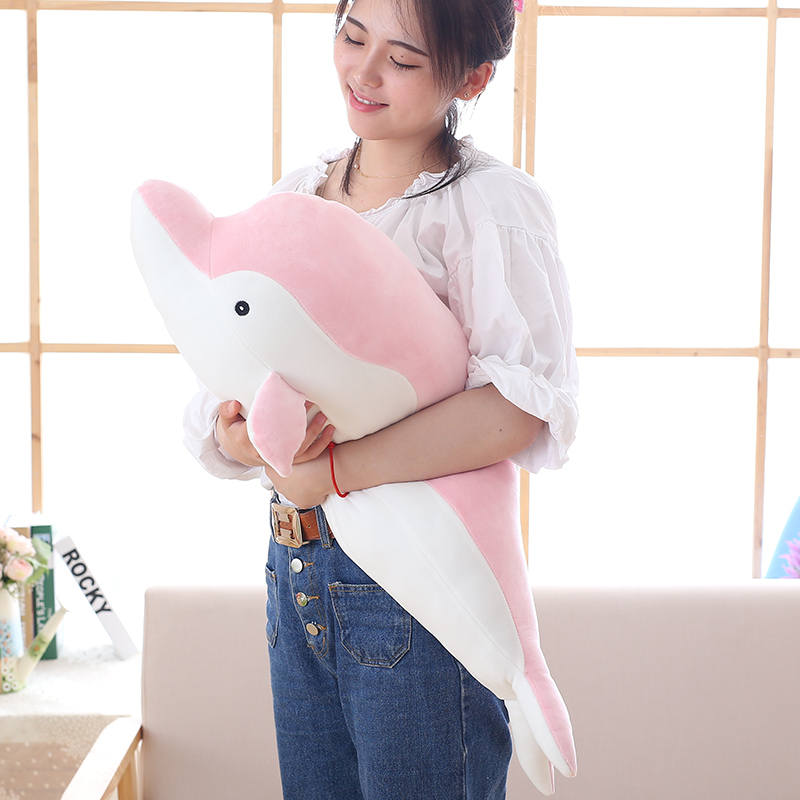 50-80cm Soft Dolphin Plush Toys Doll Stuffed Down Cotton Animal Pillow Kawaii Office Nap Pillow Kids Toy Christmas Gift For Girl