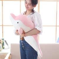 50-80cm Weiche Delphin Plüsch Spielzeug Puppe Gefüllte Unten Baumwolle Tier Kissen Kawaii Büro Nickerchen Kissen Kinder Spielzeug weihnachten Geschenk für Mädchen