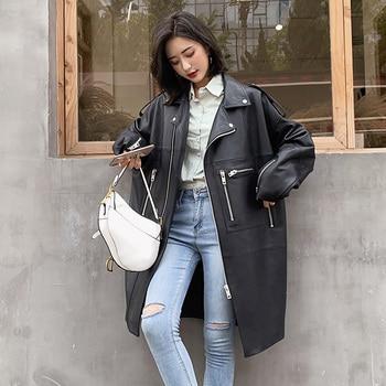 Nerazzurri surdimensionné noir long printemps femmes veste en cuir à manches longues goutte épaule fermeture éclair grande taille en vrac faux cuir manteau 1