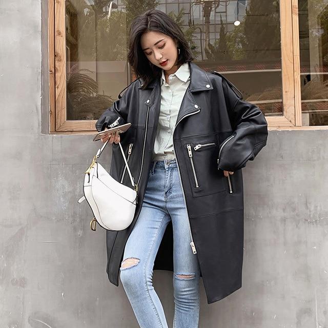 Nerazzurri Oversized black long spring womens leather jacket long sleeve drop shoulder zipper Plus size loose faux leather coat 1