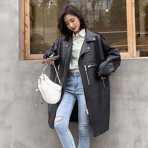 Nerazzurri Oversized black long spring womens leather jacket long sleeve drop shoulder zipper Plus size loose faux leather coat(China)