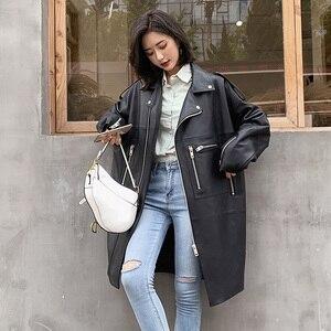 Nerazzurri Oversized Zwarte Lange Lente Womens Lederen Jas Lange Mouw Drop Schouder Rits Plus Size Losse Faux Lederen Jas(China)
