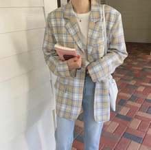 Модные осенние женские клетчатые блейзеры и куртки офисный женский
