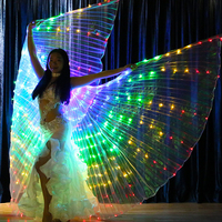 Women Led Butterfly Wings Belly Dance Costumes Led Glowing Wing Clothing Light Dance Clothes Safe Low Voltage Perform Props