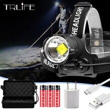 12000 люмен фара V6 L2 светодиодный налобный фонарь ультра яркий с изменением дальности света Головной фонарь охота рыбалка кемпинг свет на 18650 батареи