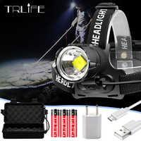 80000LM XHP70.2 faro LED potente lámpara de pesca linterna USB + T6 LED linterna frontal Ultra brillante cabeza Zoomable linterna Flash 18650