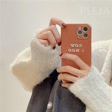 Simples bordado letras relevo caso do telefone para o iphone 12 mini 11 pro max 7 8 plus x xr xs max se 2020 capa de couro casos macios