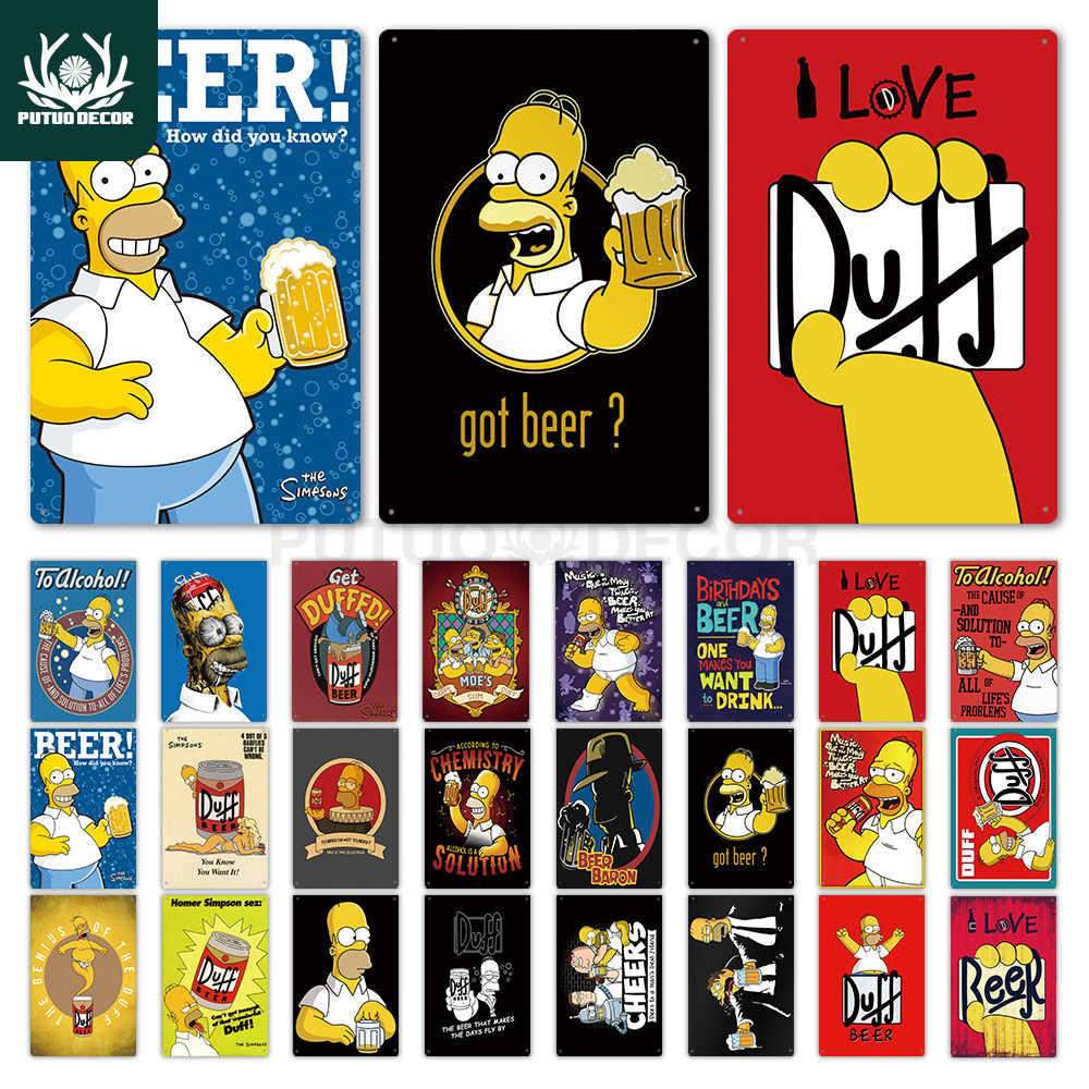 Cartel de Metal de Los Simpson, letrero metálico con diseño de cerveza Duff, divertido letrero para decoración de pared para Bar, Pub, Club, hombre, cueva, placa decorativa, letrero de estaño para decoración de pared