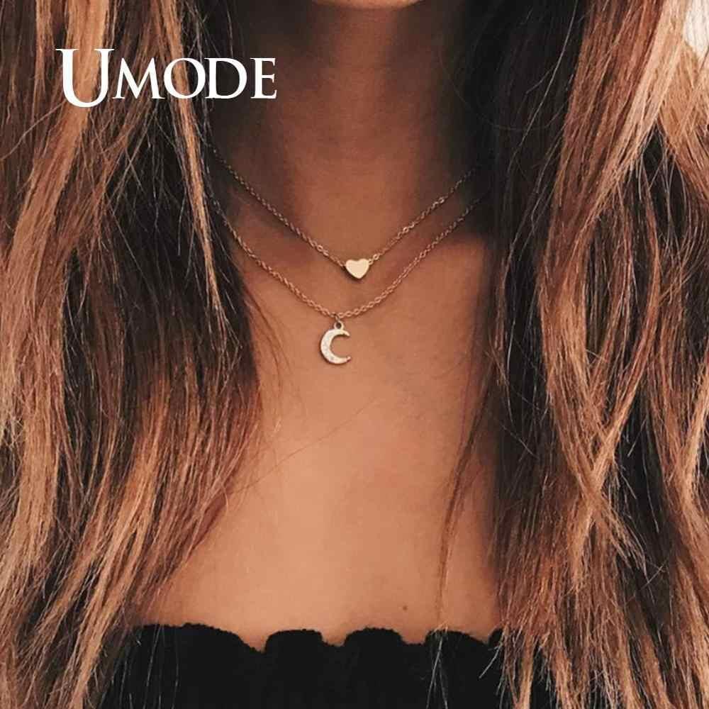 UMODE بسيطة القلائد للنساء الفتيات Chocker الطبقات القلائد القمر دلاية شكل نجمة هدايا الحفلات مجوهرات الأزياء Vsco الأشياء