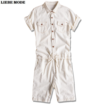 Mens Letter Printed Jumpsuit Romper Short Sleeve Linen Breathable One Piece Cargo Trousers Overalls Male Summer Casual Shorts