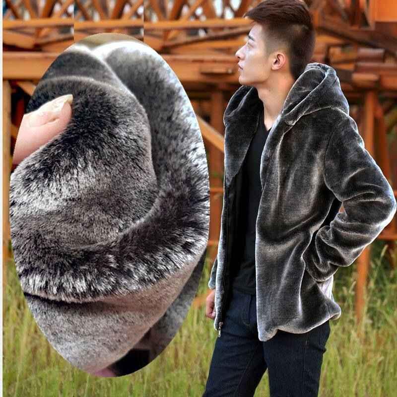 Теплое Мужское пальто на осень и зиму, Мужское пальто из искусственного меха норки, короткое серое пальто с капюшоном, плюшевое пушистое пальто для мужчин размера плюс Xxxl 4xl 5xl