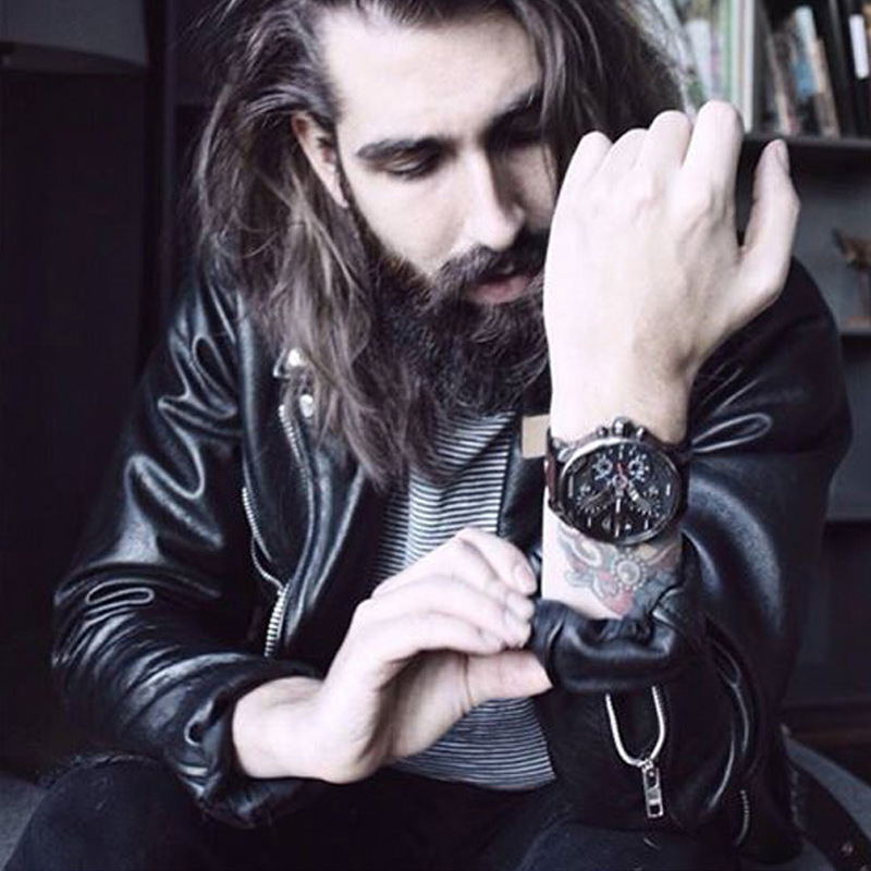 Men's Gift Men's Watch Personality Large Dial Trend Watches Genuine Leather Strap Quartz Watches