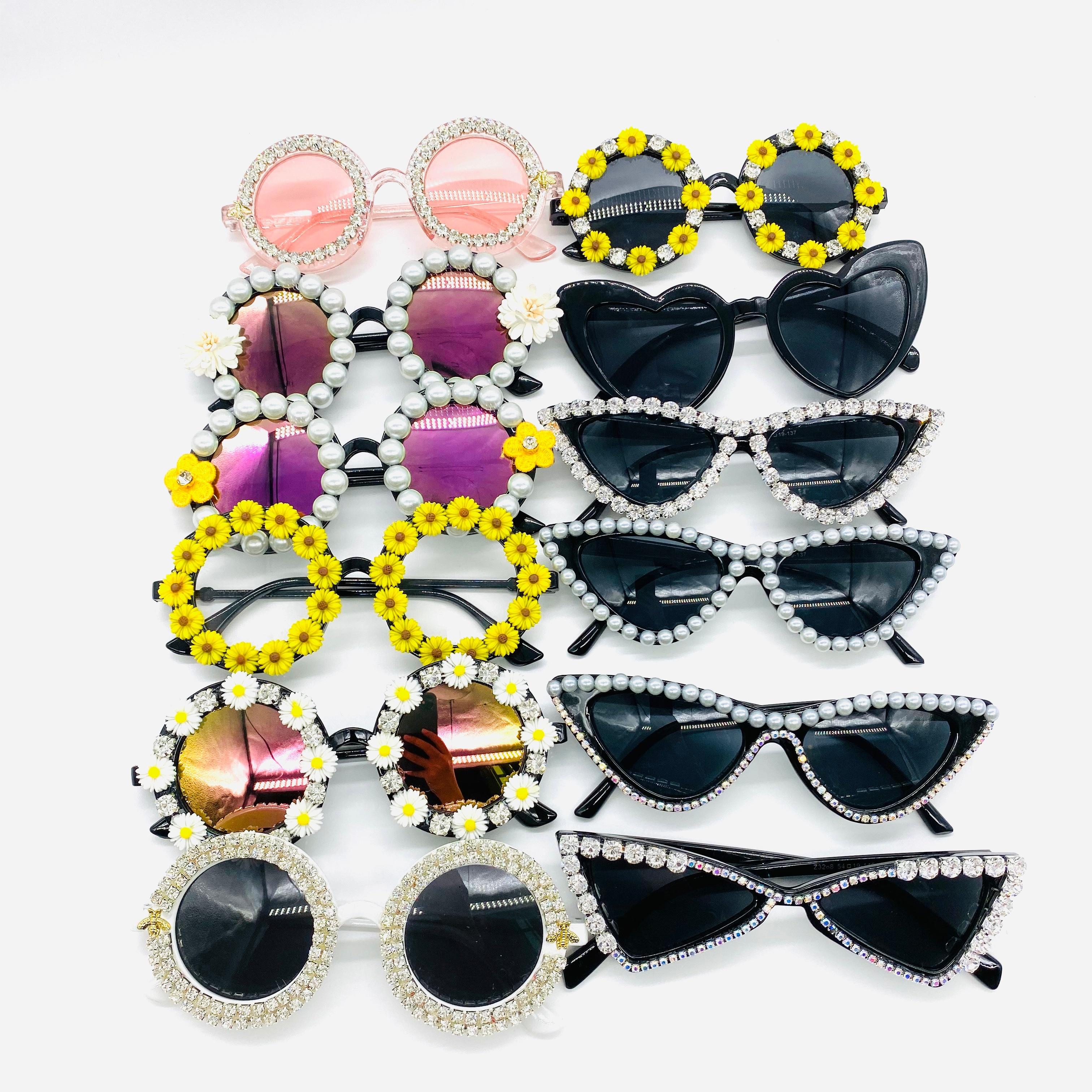Zaolihu Fashion Diamond Women Sunglasses Round Crystal Shades Black Cat Eye Female Eyewear Handmade Square Mens Sunglass Gafas