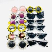 Zaolihu Fashion Diamond Women Sunglasses Round Crystal Shades Black Cat Eye Fema