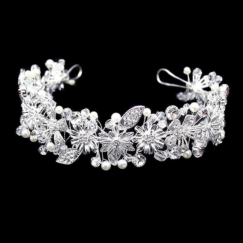 Headbands Hair-Accessories Bride-Head-Pieces Wedding-Tiara Rhinestone Handmade Silver
