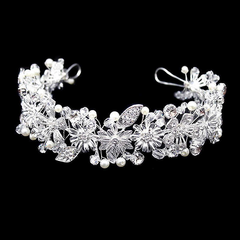 Handmade Silver Crystal Bride Head Pieces Bridal Hair Accessories Vintage Leaf Rhinestone Wedding Tiara Headbands For Women
