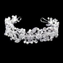 Handmade Crystal Rhinestone Bride Bridal Hair Accessories Head Jewelry Silver Pieces Headbands Vintage Leaf Tiara