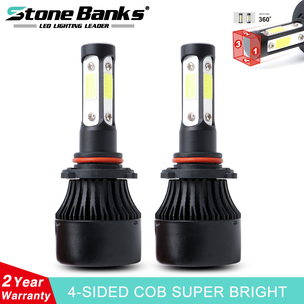 Stone Banks 4 Side Lumen H7 H4 H1 H11 9006 HB4 H8 H9 <font><b>H3</b></font> 9005 HB3 H16 HIR2 H13 HB1 HB5 <font><b>LED</b></font> Light Bulb For Auto <font><b>100W</b></font> Car Headlight image
