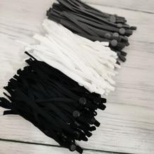 Atacado ajustável máscara corda de costura elástico cabo com fivela branco preto corda diy fazer acessórios suprimentos