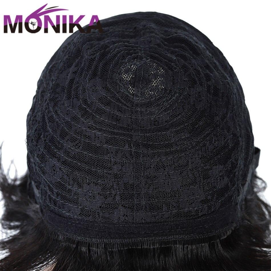 cabelo humano não-remy curto ondulado peruca natural