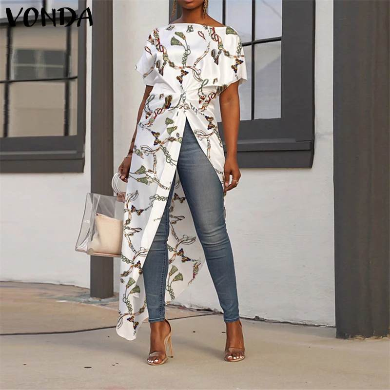 Women Asymmetrical Tops 2020 Summer Tunic Bohemian Ladies Shirts Vintage Floral Printed Long Blouse Female Plus Size Blusa S-5XL