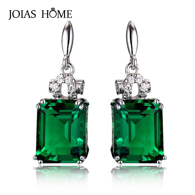 JoiasHome 925 Sterling Silver Vintage Earrings For Woman With Square Green Emerald Gemstones  Wedding Party Wholesal Gift