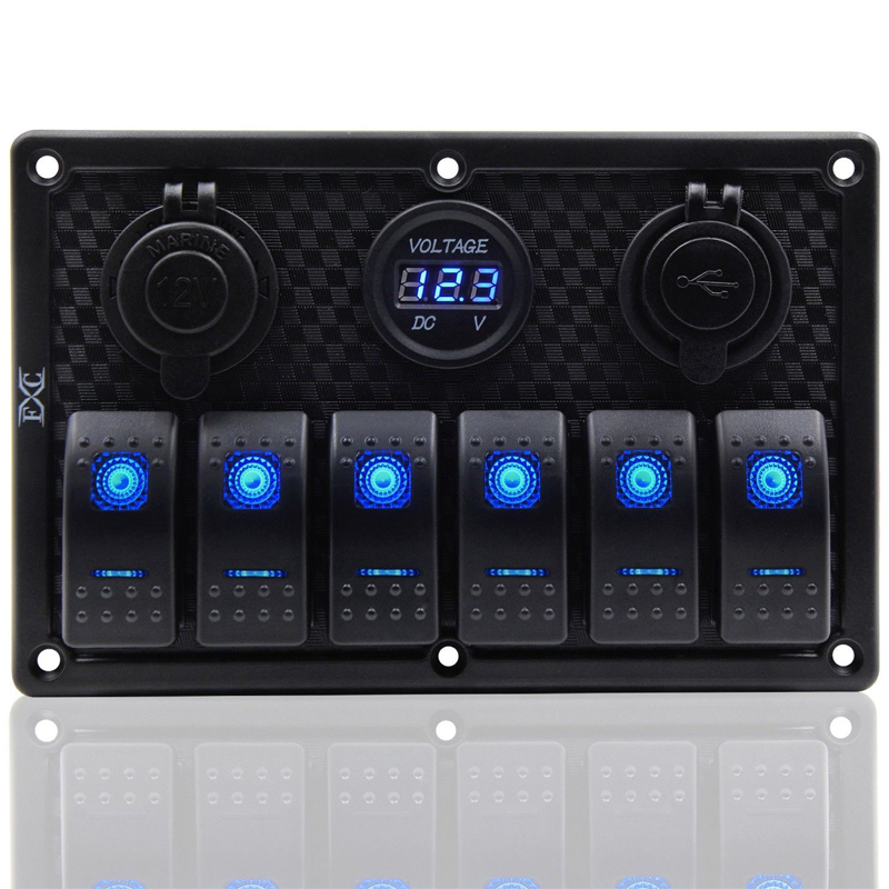 6 Gang Blue LED Rocker Switch Panel ON-OFF Circuit Breaker Car Marine Boat RV